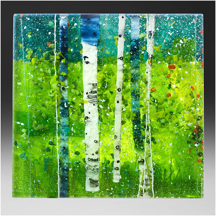 Spring II is a fused glass art work; click to return to thumbnail images.