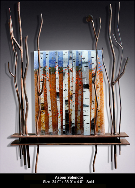 Aspen Splendor is a fused glass art work with wooden base and metal work; click to return to thumbnail images.