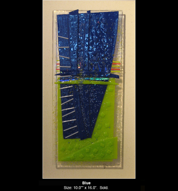 Blue is an abstract fused glass artwork.