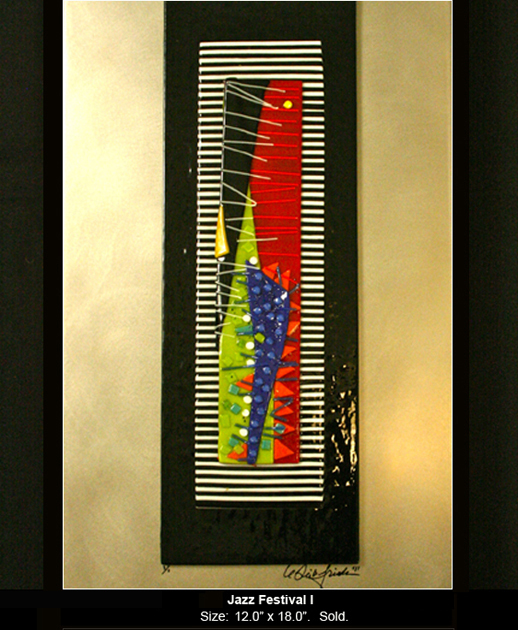 Jazz Festival is an abstract fused glass artwork.