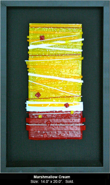 Marshmallow Cream is an abstract fused glass artwork.