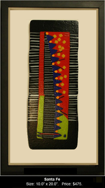 Santa Fe is an abstract fused glass artwork.