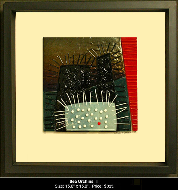 Sea Urchins I is an abstract fused glass artwork.