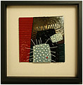 Sea Urchins III is an abstract fused glass artwork; click for enlargement and details.