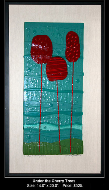 Under the Cherry Trees is an abstract fused glass artwork.
