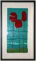 Under the Cherry Trees is an abstract fused glass artwork; click for enlargement and details.