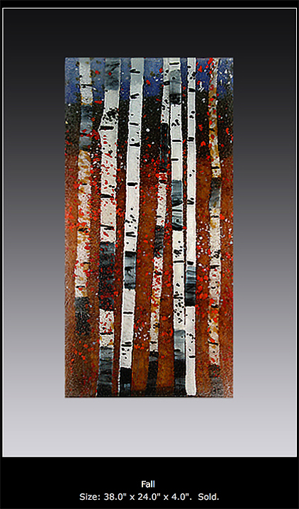 Fall is a fused glass art work. Click for enlargement and details.
