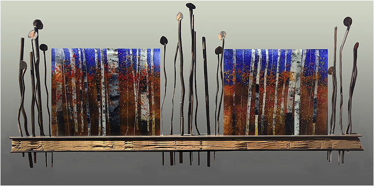 Beyond the Horizon, a fused glass artwork. Click for enlargement and details.