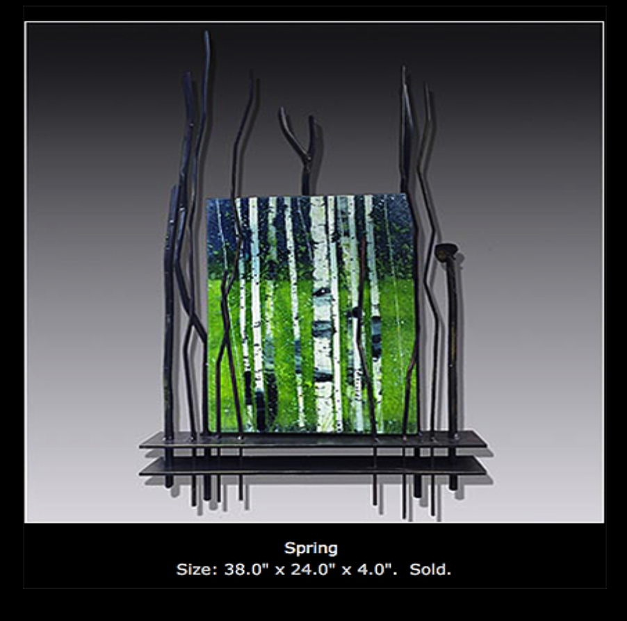 Spring is a fused glass artwork with wood base and metalwork; click to return to thumbnails.
