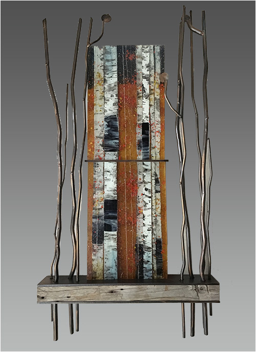 Autumn Aspen, a fused glass artwork. Click for enlargement and details.