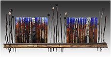 Beyond the Horizon, a fused glass art work; click for enlargement and details.