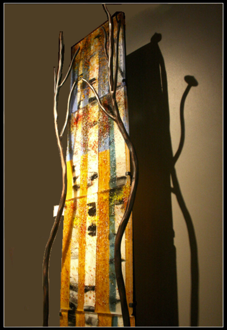 Reverence Standing is a fused glass artwork; click to return to thumbnail images.