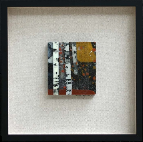 Rock Climbing II is a fused glass artwork mounted on a walnut background; click to return to thumbnail images.