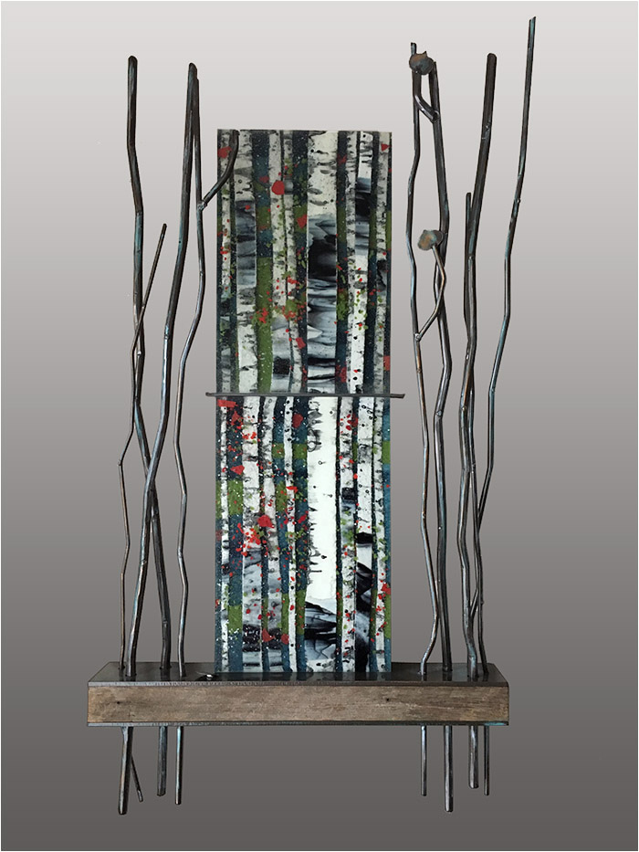 Some Enchanted Evening is a fused glass artwork with a wooden base and metalwork; click to return to thumbnail images.