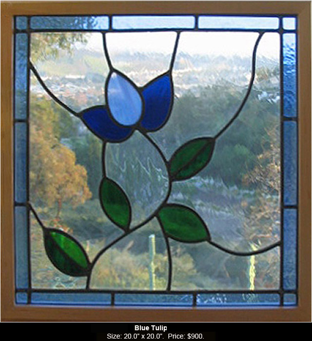 Blue Tulip is a stained glass artwork.