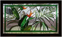 Remembering Barbara is a stained glass artwork; click for enlargement and details.